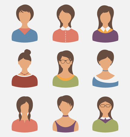 Illustration set female characters isolated on white background - vector illustration