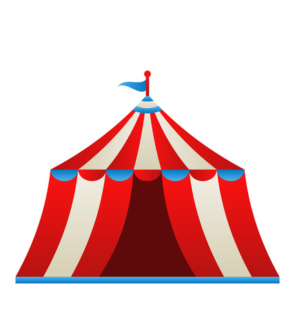entertainment tent: Illustration open circus stripe tent isolated on white background - vector Stock Photo