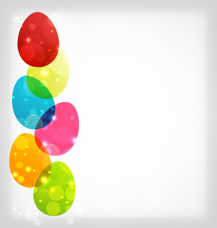 pascua: Illustration Easter colorful eggs with space for your text - vector
