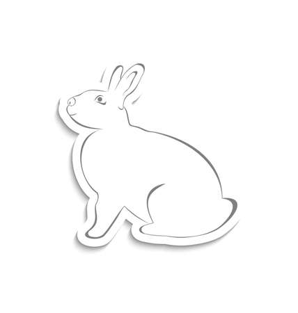 pascua: Illustration Easter greeting rabbit isolated on white background - vector