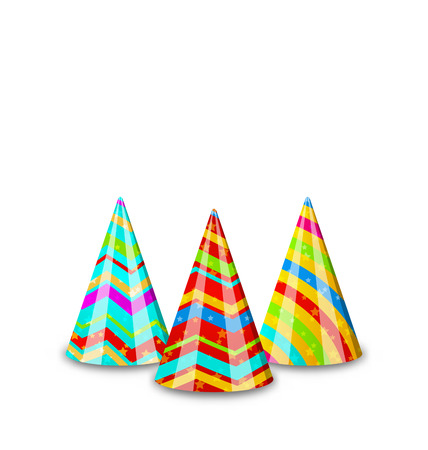dressing up party: Illustration colorful party hats for your holiday, isolated on white background - vector