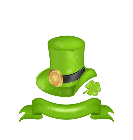 Illustration green hat, clover, ribbon in saint Patrick Day - isolated on white background - vector illustration