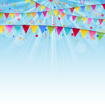 birthday celebration: Illustration holiday background with birthday flags and confetti  - vector Stock Photo