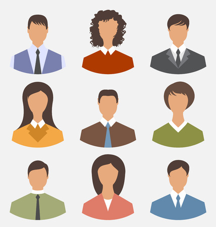 employe: Illustration avatar set front portrait office employee business people for web design - vector