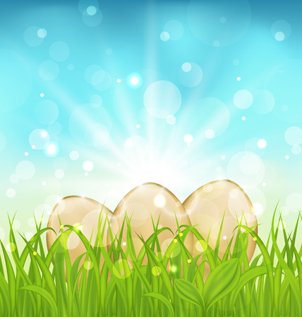 Illustration Easter background with eggs in grass - vector