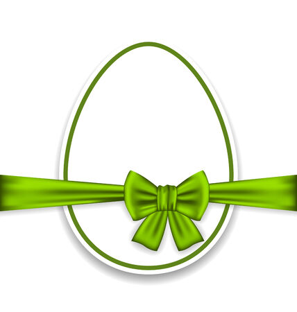 pascua: Illustration Easter celebration egg wrapping green bow - vector