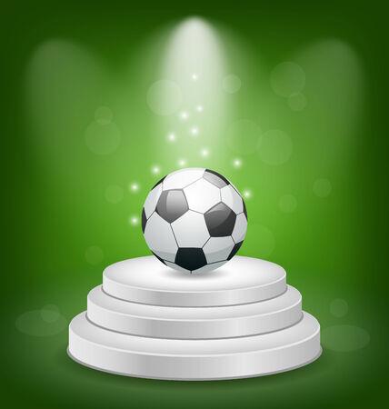 Illustration football ball on white podium with light - vector illustration