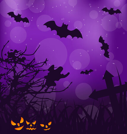 ominous: Illustration Halloween ominous background with pumpkins, bats, ghost - vector