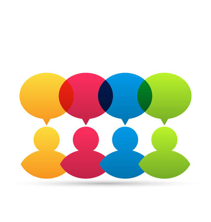 idea icon: Illustration colorful people icons with dialog speech bubbles - vector