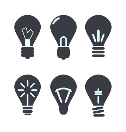 Icon set process of generating ideas to solve problems, birth of the brilliant ideas - vector photo