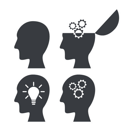 Icon process of generating ideas to solve problems, birth of the brilliant ideas - vector photo