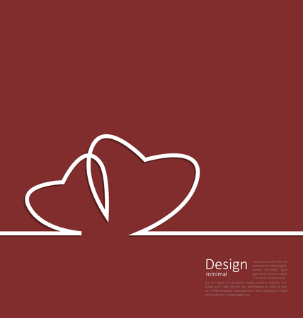 Laconic design of couple hearts for design card on Valentines Day cleaness line flat template with space for text - vector