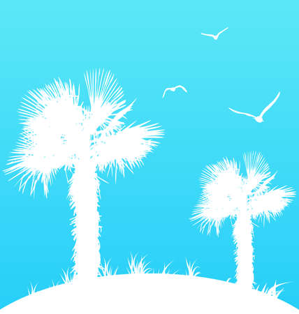 seagulls: Illustration summer background with palm trees and seagulls - vector Stock Photo