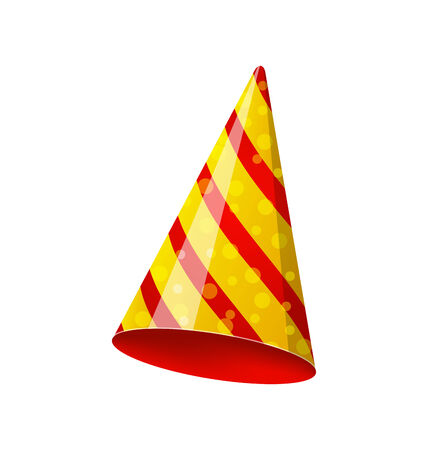 new year's cap: Illustration party striped hat isolated on white background - vector