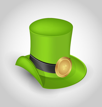 gold buckle: Illustration green hat with buckle in saint Patrick Day - isolated on white background - vector