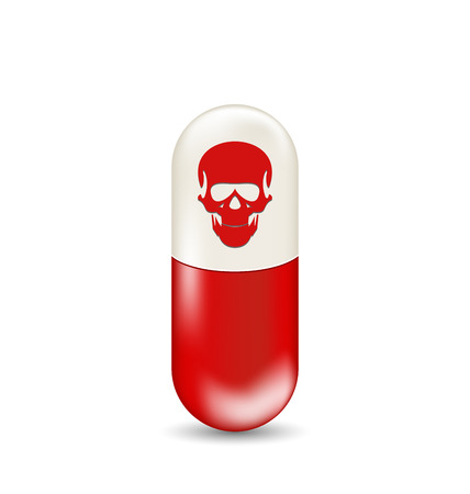 illegality: Illustration red capsule with skull, isolated on white background - vector Stock Photo