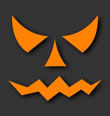 jack o: Illustration Jack o lantern pumpkin faces glowing on black background - vector Stock Photo
