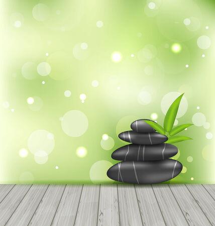 piedras zen: Ilustración zen piedras sobre la textura de madera, fondo oriental de meditación - vector