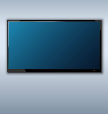 tft: Illustration tft tv hanging on the wall background - vector