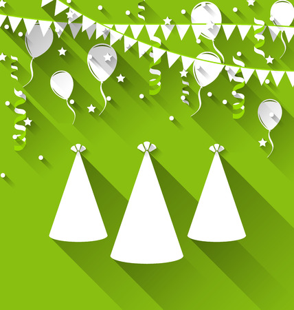 party hats: Illustration holiday background with party hats, balloons, confetti, and hanging flags - vector