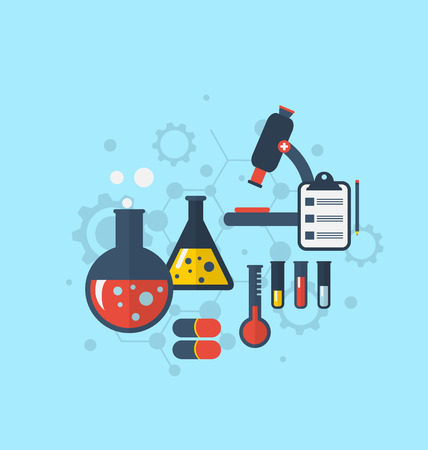conducted: Illustration template for showing various tests being conducted in laboratory glassware using chemical solutions and reactions. Modern flat style - vector