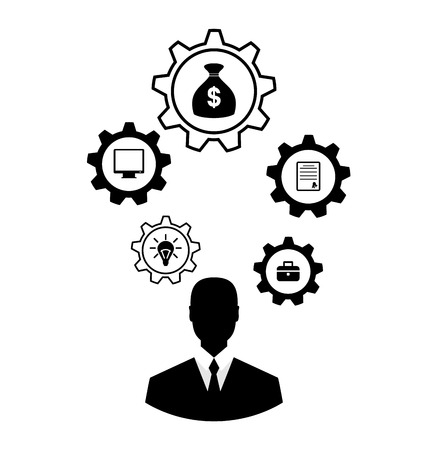 brain storming: Illustrations businessman head with cogwheels. Brain storming, successful business idea concept - vector