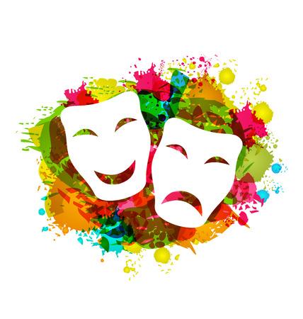 Illustratie komedie en tragedie eenvoudige maskers voor Carnaval op kleurrijke grunge achtergrond - vector