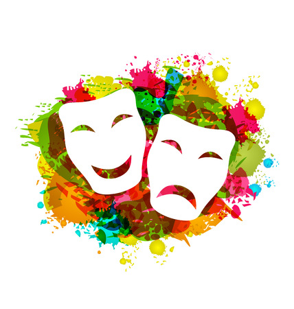 Illustration comedy and tragedy simple masks for Carnival on colorful grunge background - vector Ilustração