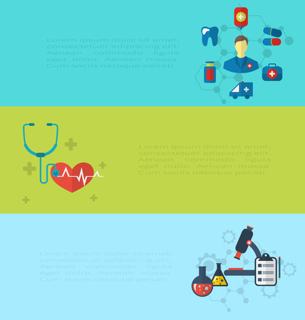 observing: Illustrations concept of medical diagnostics hospital clinic care, set banners with infographics elements - vector Illustration