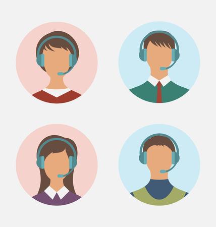 남자와 여자와 콜 센터 운영자의 그림 아이콘은 특징없는 착용 헤드셋, 라운드 웹 버튼 - 벡터