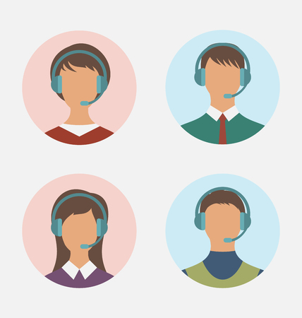 featureless: Illustration icons of call center operator  with  man and woman are featureless wearing headsets, in round web buttons - vector Illustration