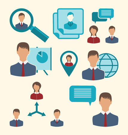 Illustration flat icons of business people showing presentation online meetings discussion teamwork analysis and graphs - vector Vector