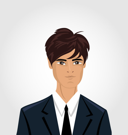 business costume: Front face portrait avatar office employee in business costume  - vector