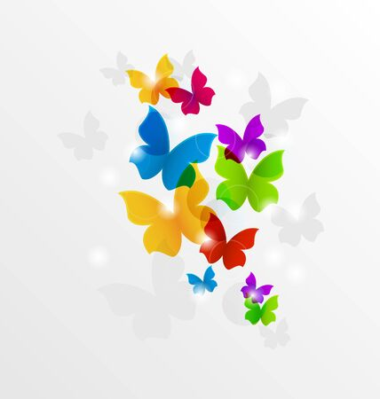 Illustration abstract rainbow butterflies, colorful background - vector illustration