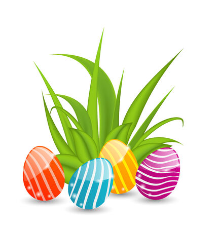 eastertide: Illustration Easter background with traditional colorful eggs  - vector