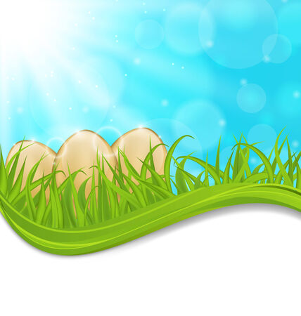 pascua: Illustration april background with Easter colorful eggs  - vector Stock Photo