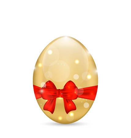 Illustration Easter paschal shine egg with red bow - vector