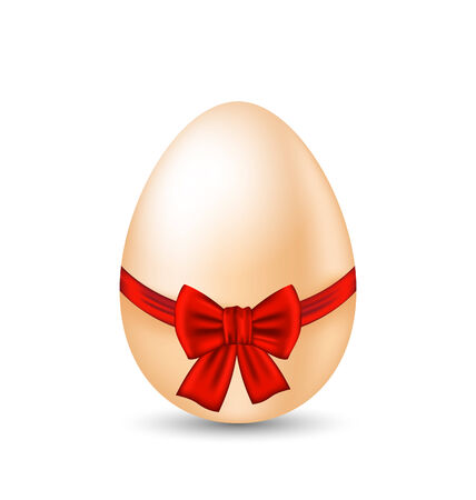 paschal: Illustration Easter paschal egg with red bow, isolated on white background - vector