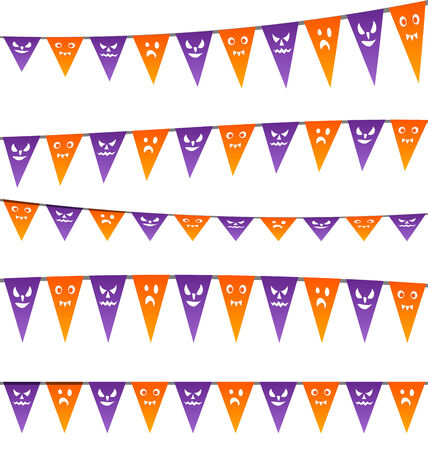 party streamers: Illustration Halloween hanging streamers flags for your party - vector