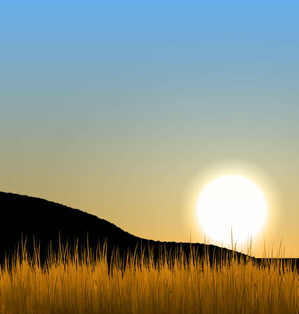 afterglow: Illustration sunrise with sun, mountain and grass field - vector Stock Photo