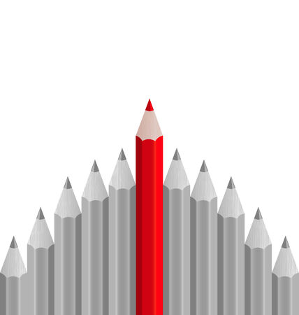 standout: Illustration group of pencils with one highlighted as business concept for leadership - vector
