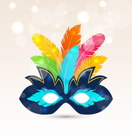 theatrical mask: Illustration colorful carnival or theater mask with feathers - vector