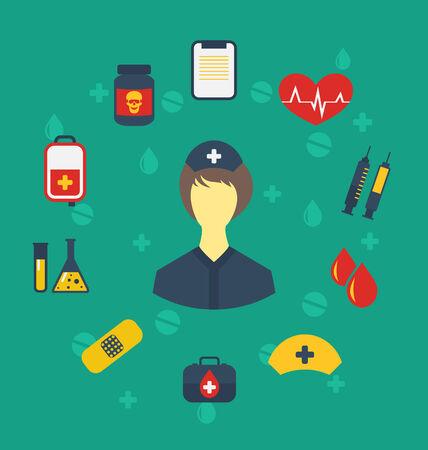 Illustration nurse with medical icons for web design, modern flat style - vector illustration