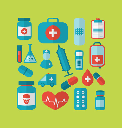 Illustration collection trendy flat medical icons - vector illustration