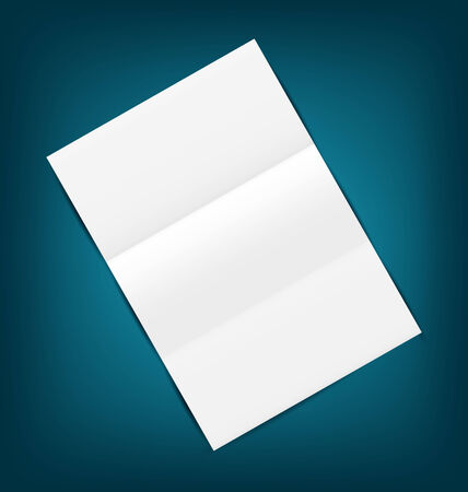 Illustration empty paper sheet with shadows, on blue background - vector illustration