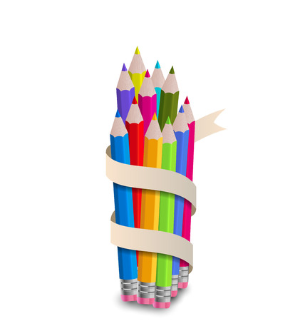 Illustration colorful pencils with ribbon, on white background - vector illustration