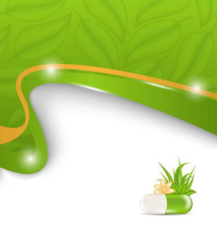 medication: Illustration natural alternative medication, medical background - vector Stock Photo