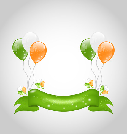 Illustration Irish balloons with clovers and ribbon for St. Patricks Day - vector