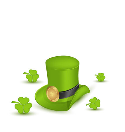Illustration green hat with buckle with clovers in saint Patrick Day - isolated on white background - vector illustration