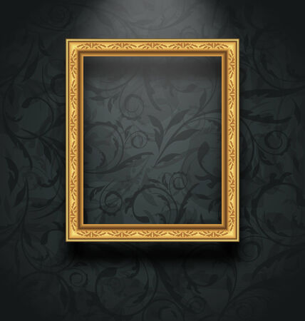 golden frame: Illustration picture frame on floral texture wall - vector